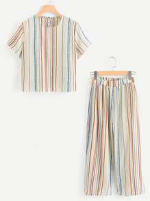 Plus Round Neck Striped Top With Pants