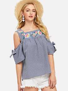Open Shoulder Floral Embroidery Plaid Top