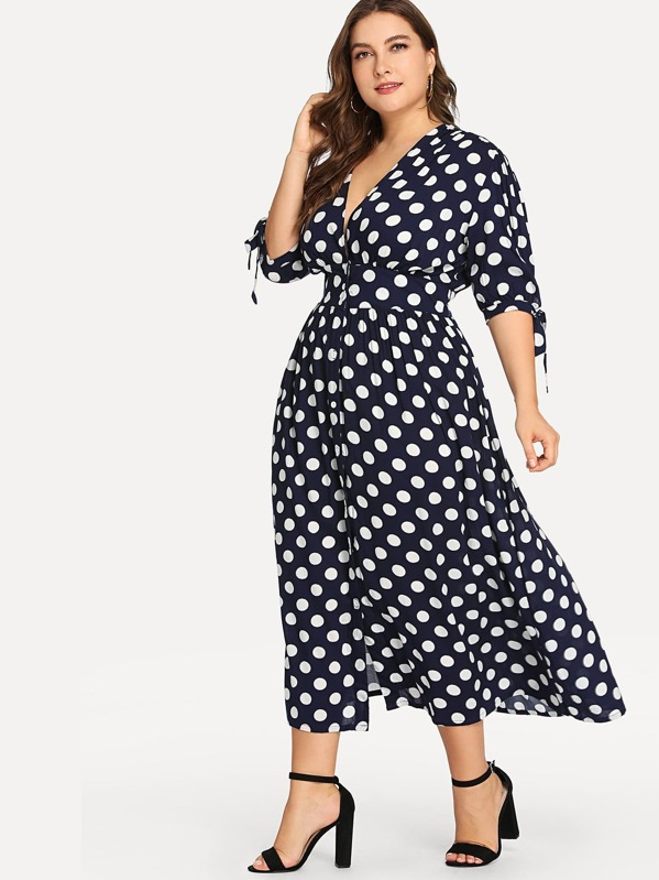 Plus Fit & Flare Polka Dot Dress