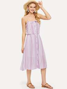 Fold Over Button Up Striped Cami Dress