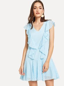 Ruffle Armhole Keyhole Back Eyelet Embroidered Dress