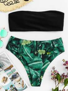 Bandeau With Tropical Print High Leg Bikini Set