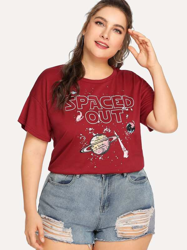 Plus Letter and Galaxy Print Tee | SHEIN