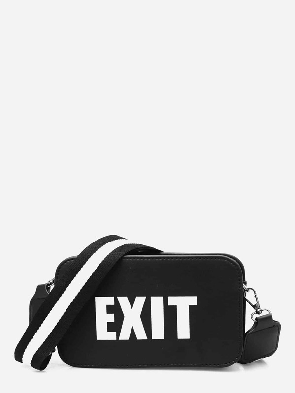 9cc325d91c Slogan Detail Bag With Striped Strap | SHEIN