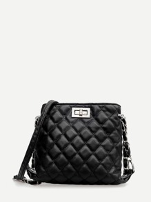 Quilted Detail Twist Lock Chain Bag