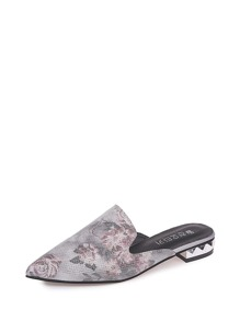 Pointed Toe Floral Print Mules