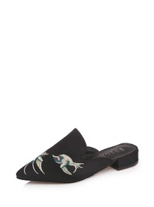 Embroidered Detail Pointed Toe Mules