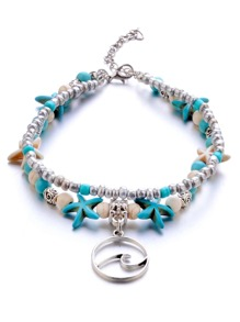 Shell Double Layered Beaded Anklet