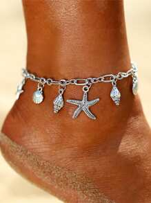 Starfish & Shell Chain Anklet