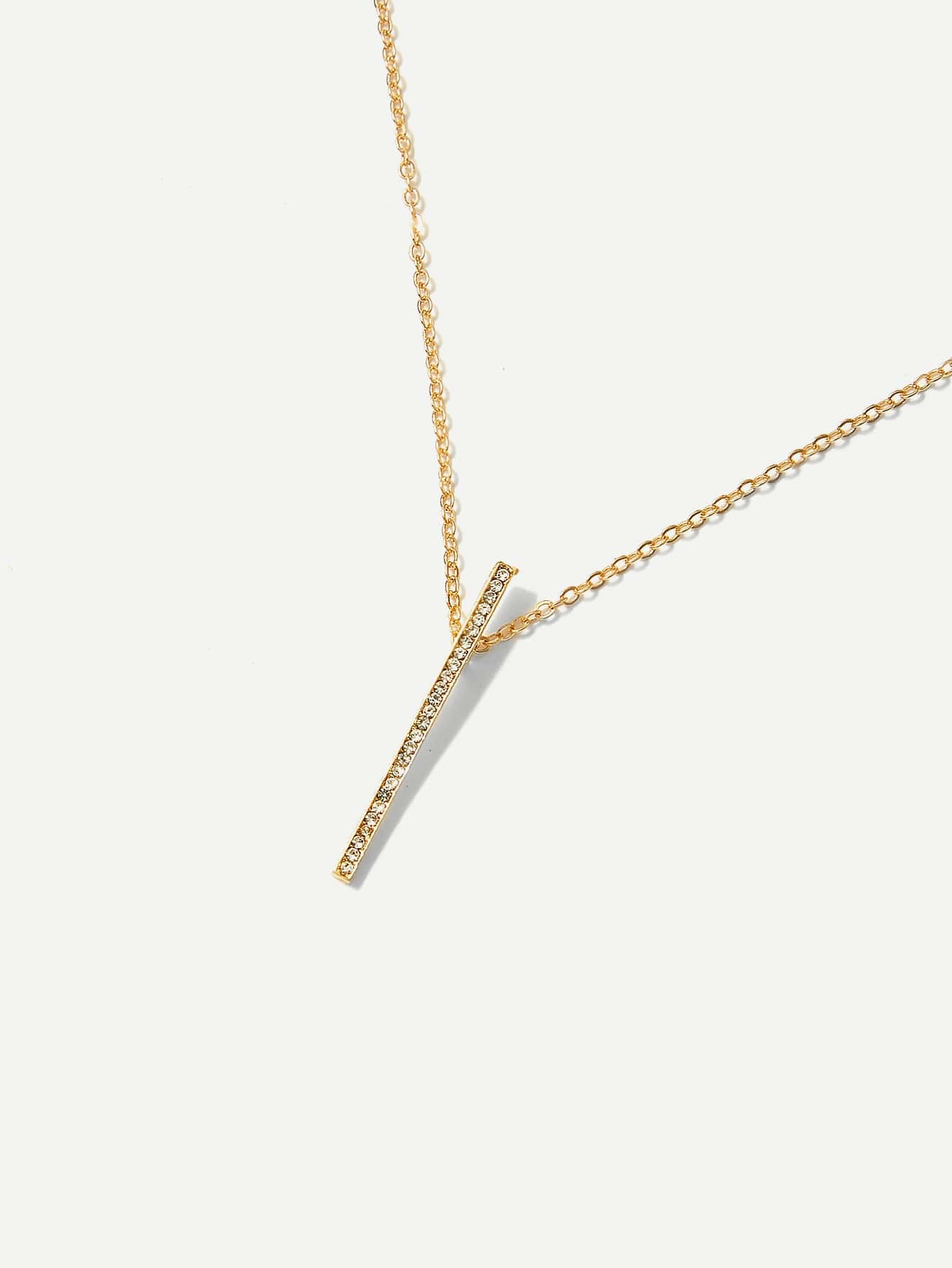 Rhinestone bar pendant chain necklacefor women romwe mozeypictures Gallery