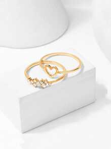 Heart Detail Ring Set 2pcs