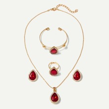 Gemstone Necklace & Earrings & Bracelet & Ring Set