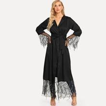 Sequin Mesh Trim Belted Abaya