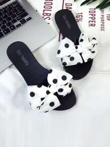 Bow Decorated Polka Dot Print Sliders