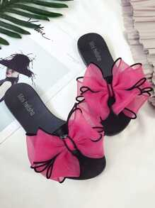 Contrast Mesh Bow Decorated Sliders