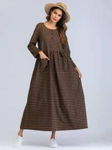 Plaid Pocket Longline Dress