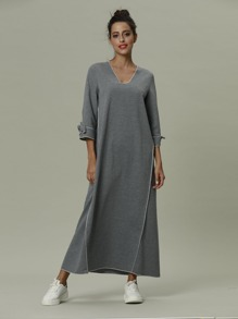 Knot Sleeve Solid Dress