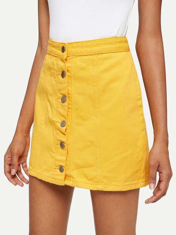 cb1f1dea8a Cheap Solid Button Front Denim Skirt for sale Australia | SHEIN
