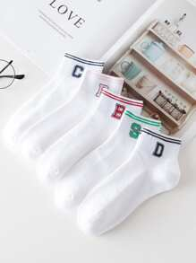Striped Hem Socks 5pairs