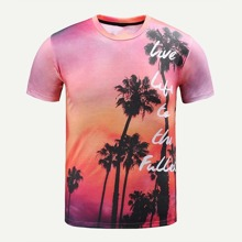 Men Tropical And Letter Print Tee