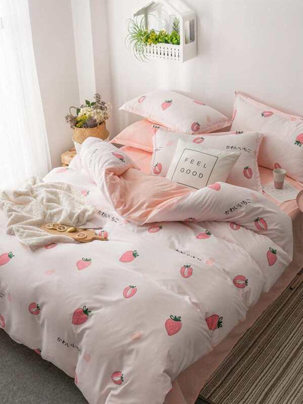 20a9bb4793 Strawberry Print Sheet Set | SHEIN