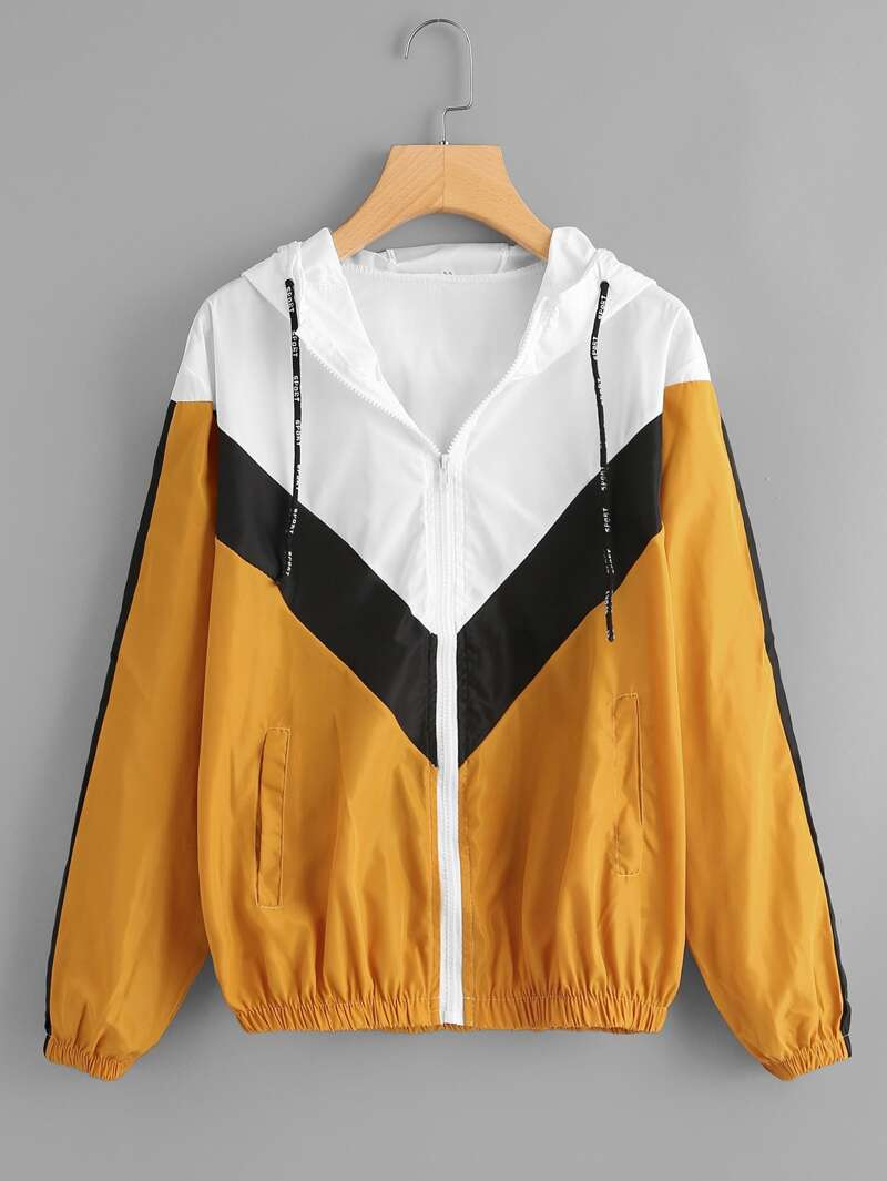 Color Block Drawstring Hooded Jacket by Romwe