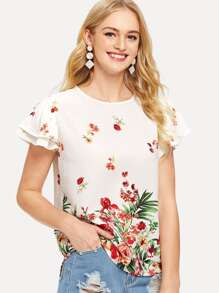 Butterfly Sleeve Floral Blouse