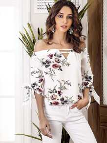 Off Shoulder Cut Out Floral Blouse