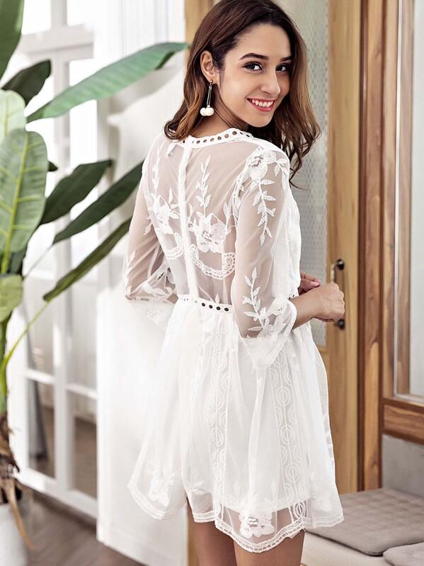 5cb1e82594 Pointelle Trim Mesh Overlay Embroidered Dress | SHEIN