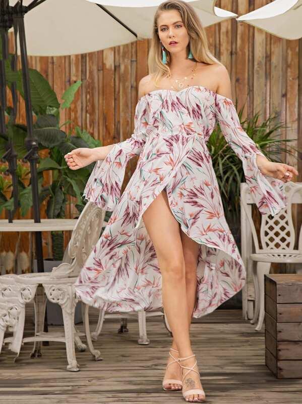 ff64f49af0 Plant Print Split Sleeve Asymmetrical Hem Dress | SHEIN