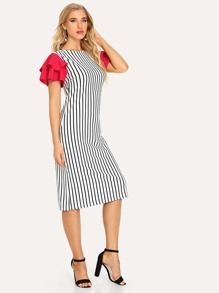 Contrast Sleeve Striped Dress