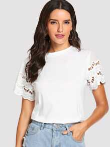 Cut Out Sleeve Tee