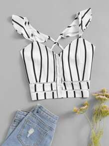 Criss Cross Back Striped Top