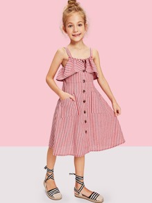 052447e9106eb Girls Ruffle Trim Button Up Striped Dress | SHEIN