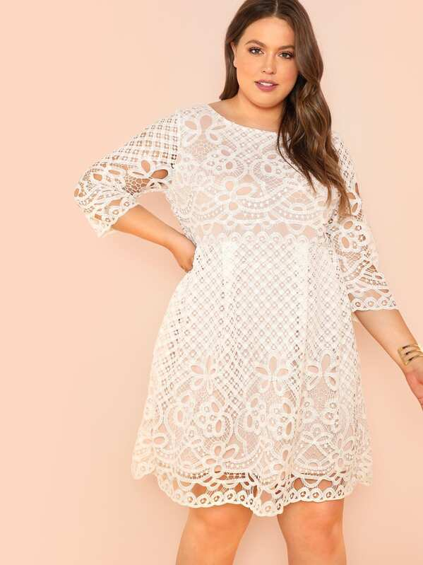 0df069c3656ac Plus Fit and Flare Lace Dress | SHEIN