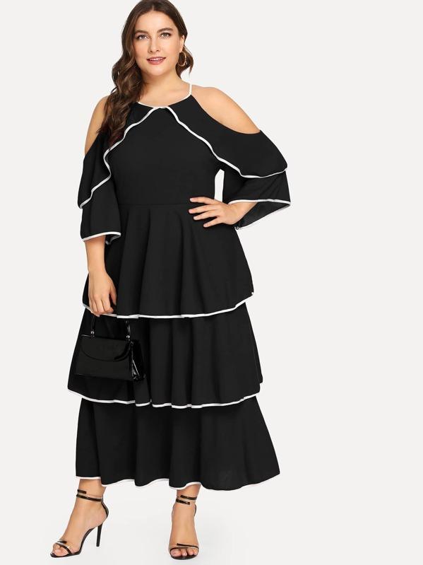 40db115d2 فستان السهر طوق كشكش الأسود فساتين كبيرة الحجم | شي إن