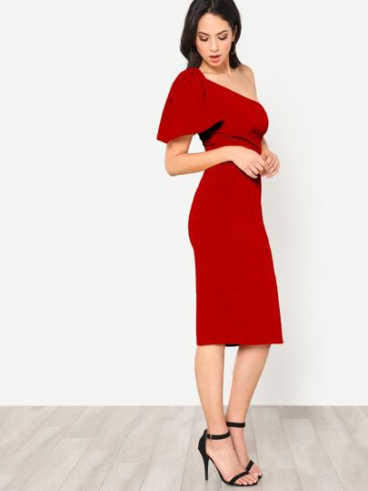 53536798159 Home · Clothing · Dresses; Exaggerate Bow One Shoulder Slit Dress