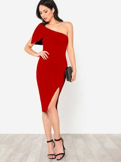 48860b47769 Exaggerate Bow One Shoulder Slit Dress | ROMWE
