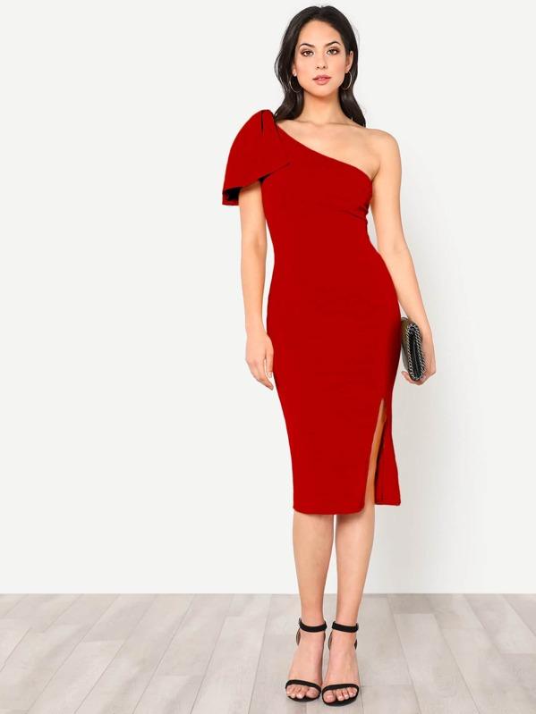cb8b959de43 Exaggerate Bow One Shoulder Slit Dress | SHEIN