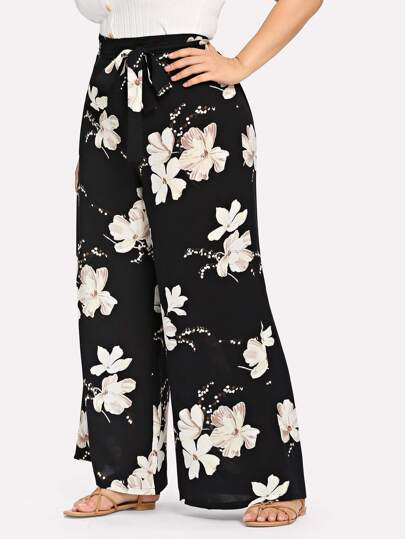5388b31a80e Plus Belted Floral Print Pants