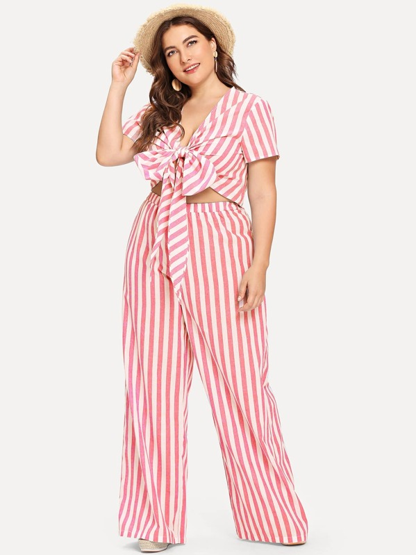 644862693 Plus Striped Knot Front Crop Top & Wide Leg Pants Set | SHEIN