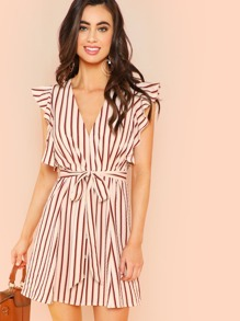 Ruffle Trim Belted Striped Dress