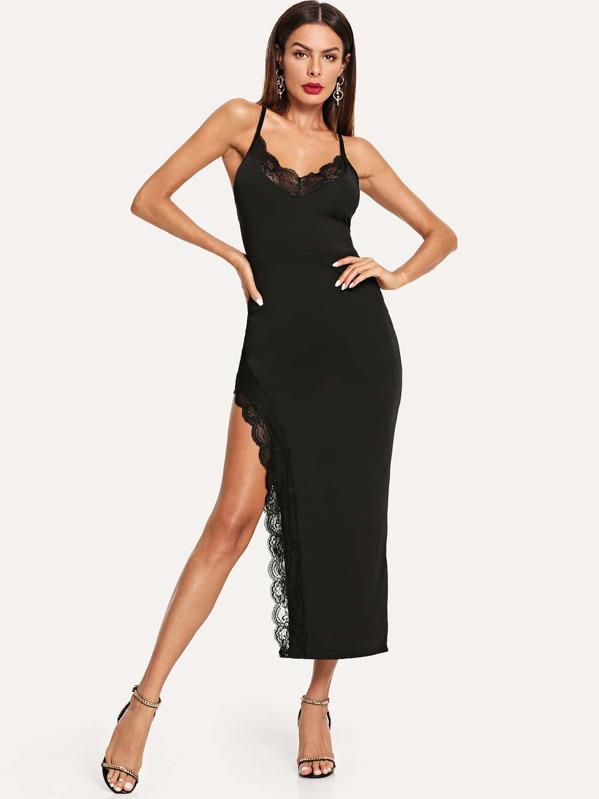 Scallop Lace Trim Split Cami Dress