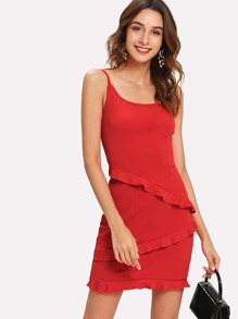 Ruffle Trim Spaghetti Strap Dress