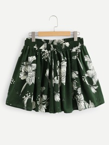 Floral Knot Ruched Shorts