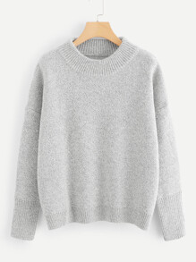 Dropped Shoulder Marled Mixed Knit Jumper