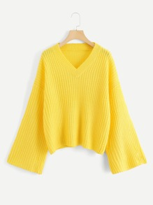 V Neck Solid Drop Shoulder Jumper