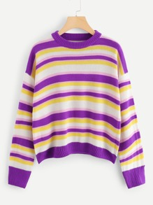 Color Block Drop Shoulder Jumper