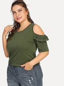Cold Shoulder Layered Sleeve Tee