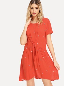 Contrast Tipping Knot Dot Dress